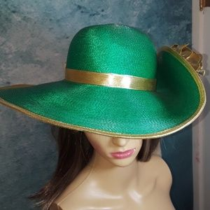 Vintage wide-brim derby / church hat, sz 54-56cm